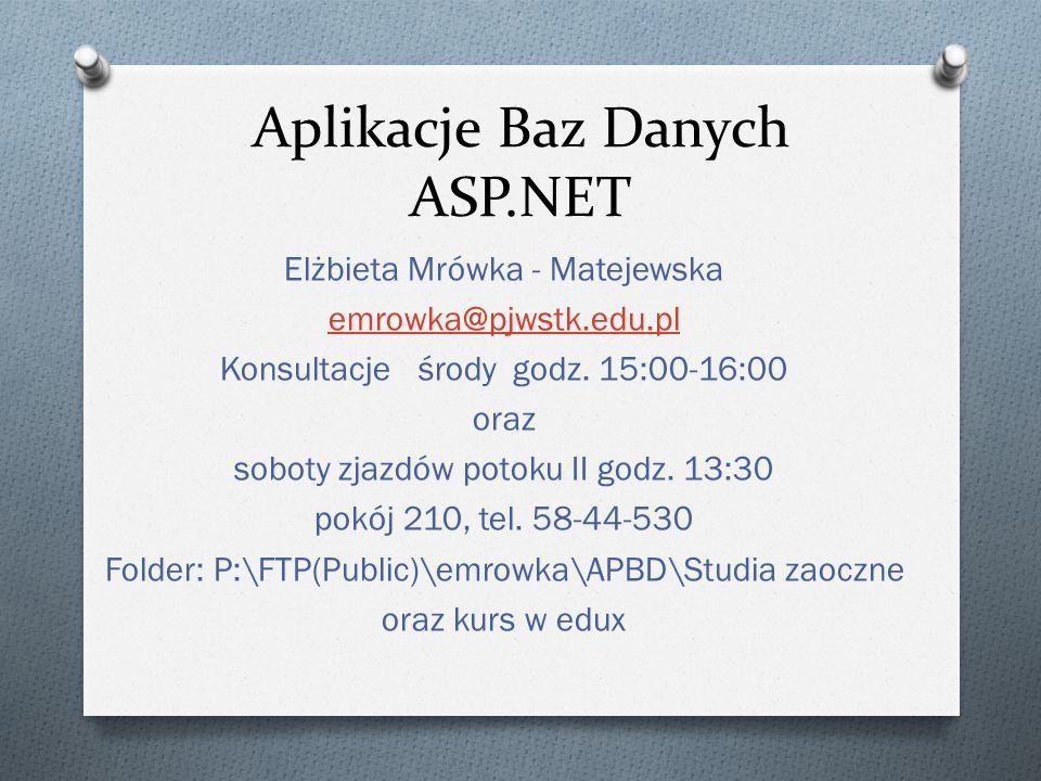 Aplikacje Baz Danych ASP.NET