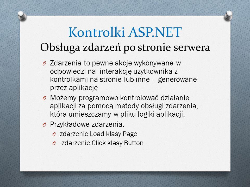 Kontrolki ASP.NET Obsługa zdarzeń po stronie serwera