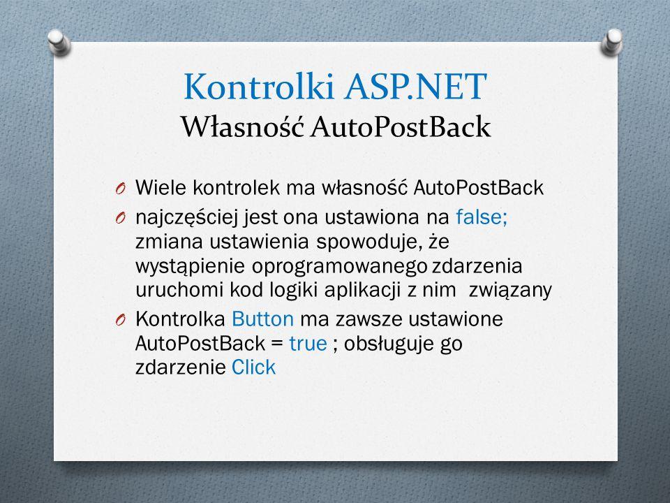 Kontrolki ASP.NET Własność AutoPostBack