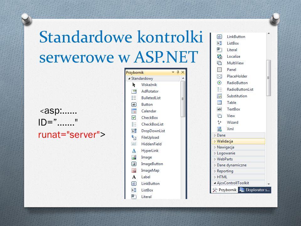 Standardowe kontrolki serwerowe w ASP.NET