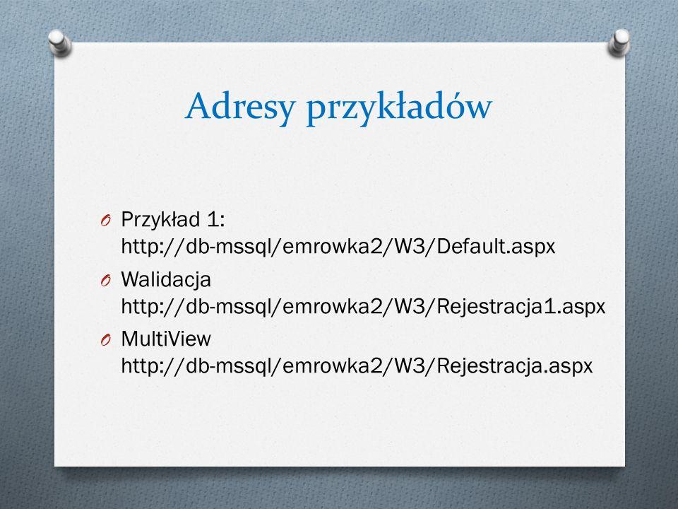 Adresy przykładów Przykład 1: http://db-mssql/emrowka2/W3/Default.aspx
