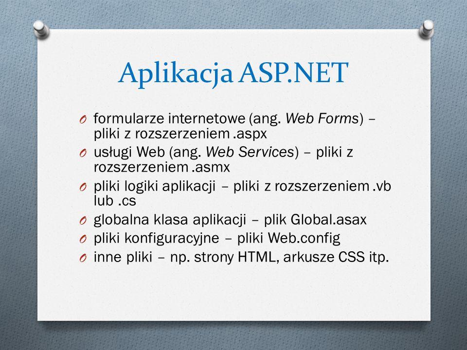 Aplikacja ASP.NET formularze internetowe (ang. Web Forms) – pliki z rozszerzeniem .aspx.