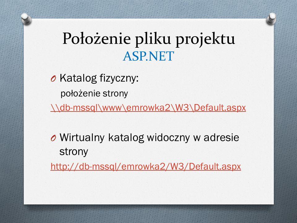 Położenie pliku projektu ASP.NET