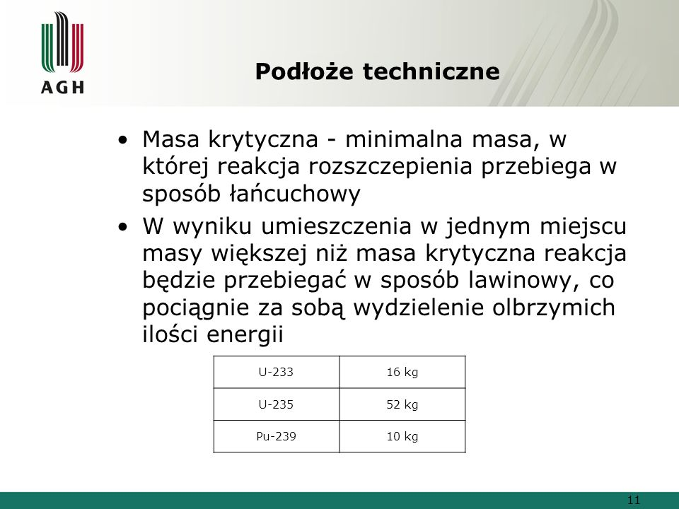 Podłoże techniczne Masa krytyczna - minimalna masa, w której reakcja rozszczepienia przebiega w sposób łańcuchowy.