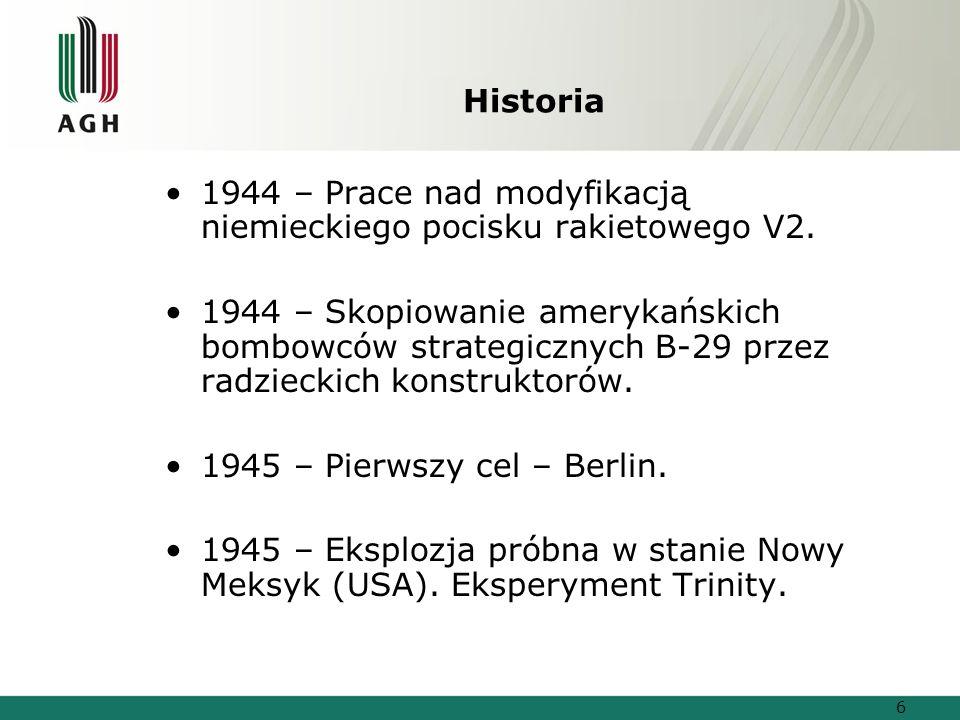 Historia 1944 – Prace nad modyfikacją niemieckiego pocisku rakietowego V2.