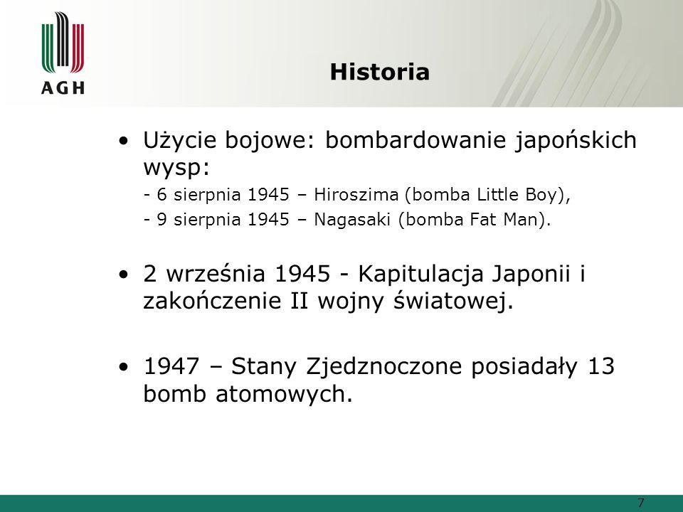 Użycie bojowe: bombardowanie japońskich wysp: