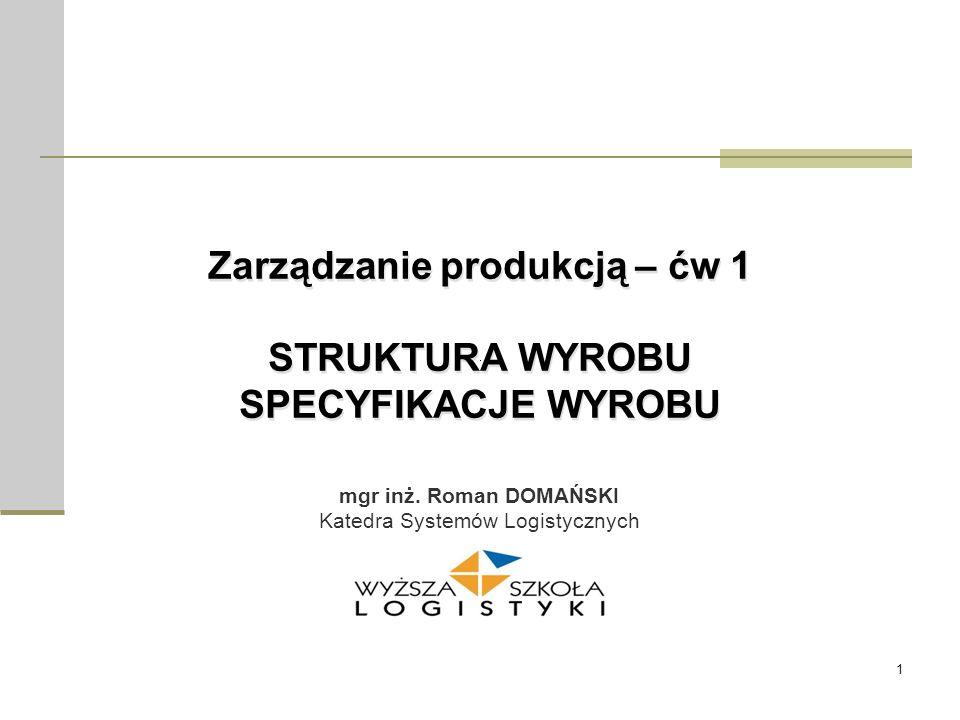 Zarządzanie produkcją – ćw 1 STRUKTURA WYROBU SPECYFIKACJE WYROBU
