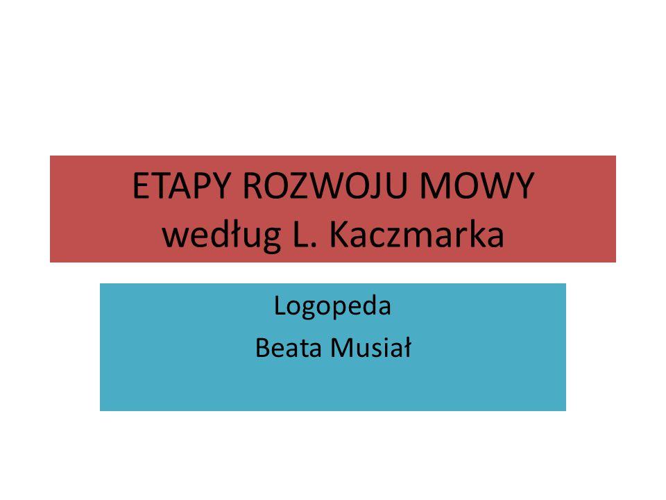 ETAPY ROZWOJU MOWY według L. Kaczmarka