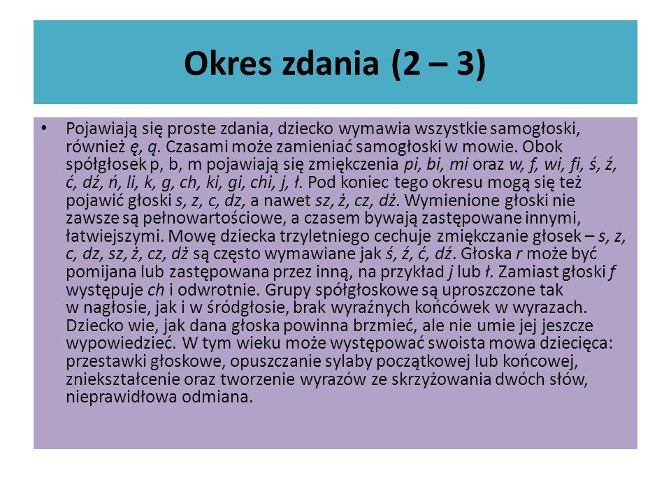 Okres zdania (2 – 3)
