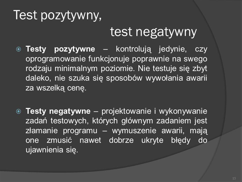 Test pozytywny, test negatywny