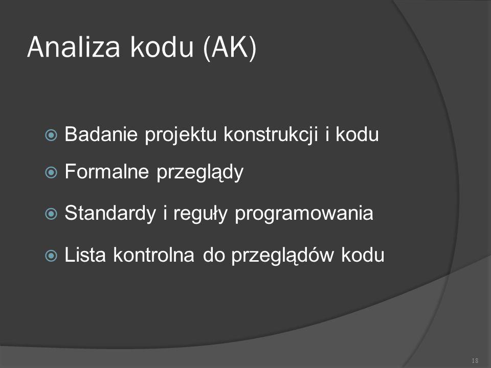 Analiza kodu (AK) Badanie projektu konstrukcji i kodu