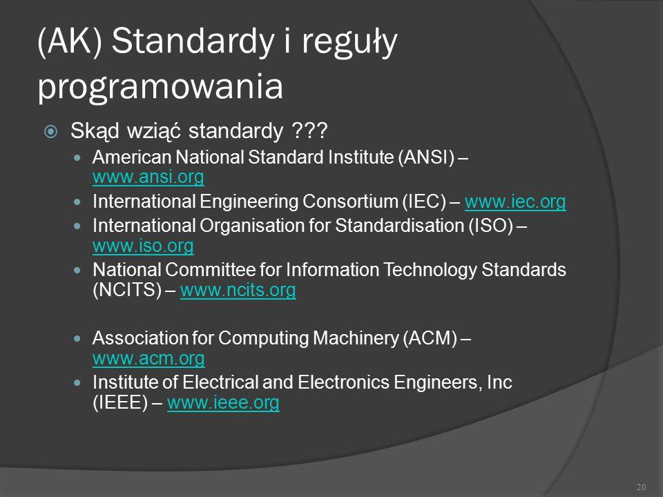 (AK) Standardy i reguły programowania