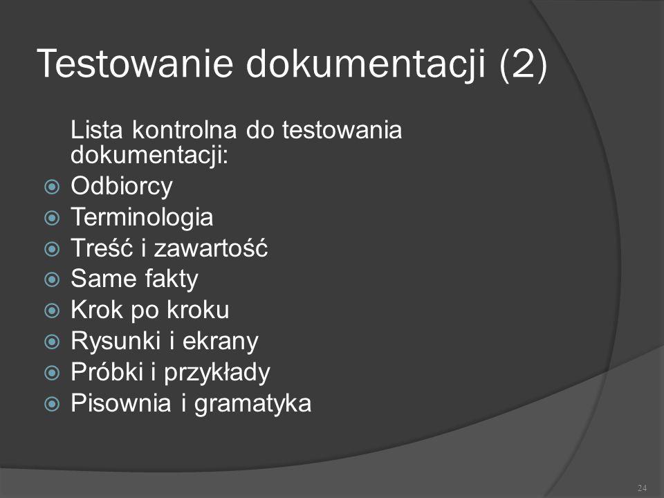 Testowanie dokumentacji (2)