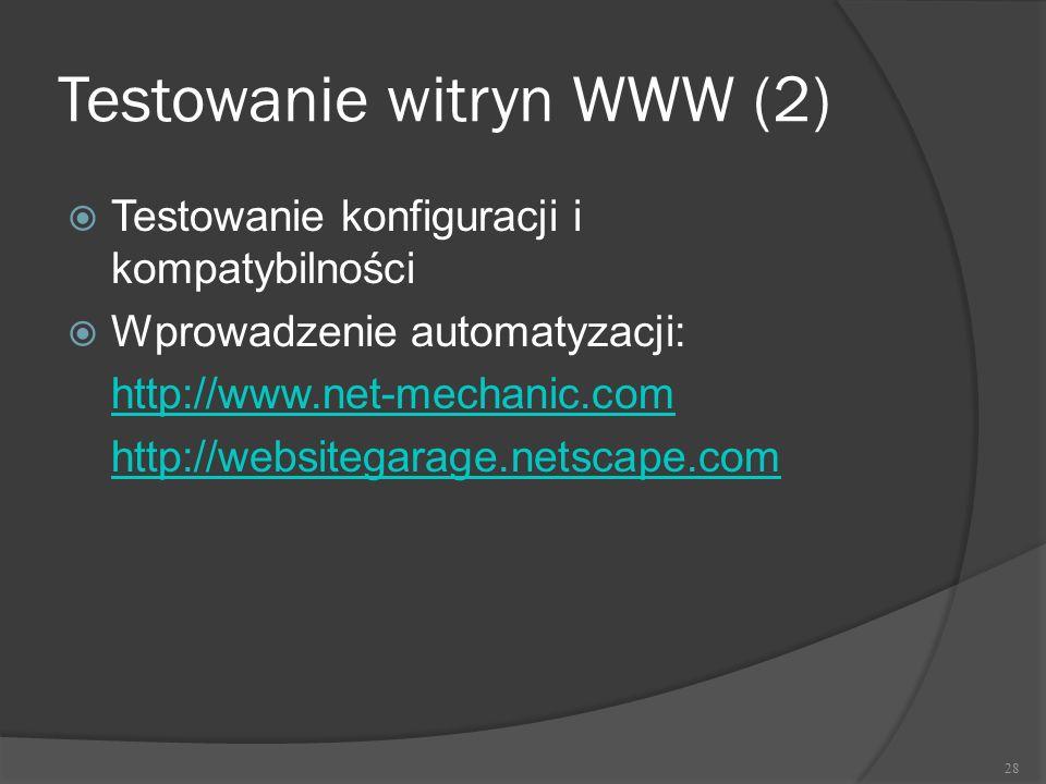 Testowanie witryn WWW (2)