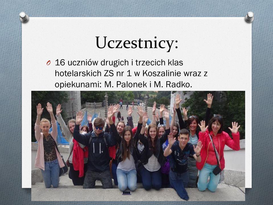 Uczestnicy: 16 uczniów drugich i trzecich klas hotelarskich ZS nr 1 w Koszalinie wraz z opiekunami: M.