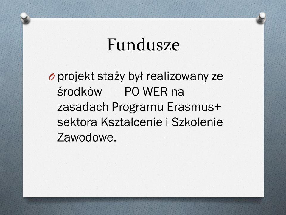 Fundusze projekt staży był realizowany ze środków PO WER na zasadach Programu Erasmus+ sektora Kształcenie i Szkolenie Zawodowe.