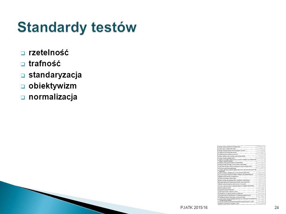 Standardy testów rzetelność trafność standaryzacja obiektywizm