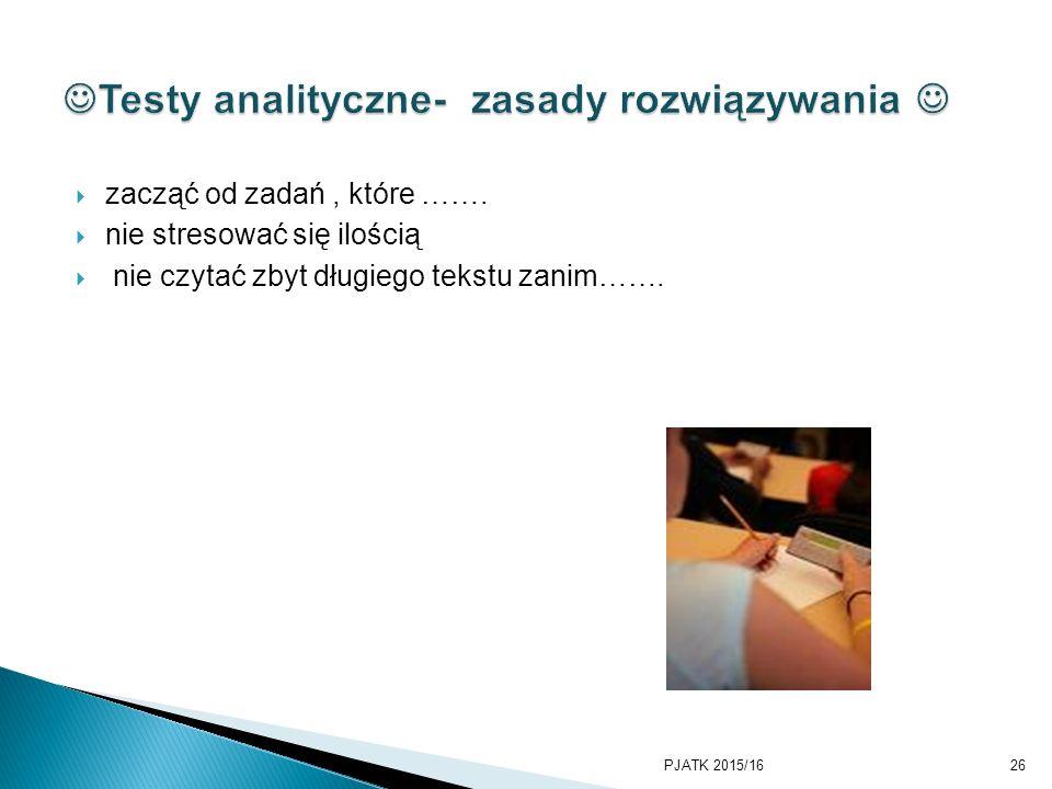 Testy analityczne- zasady rozwiązywania 