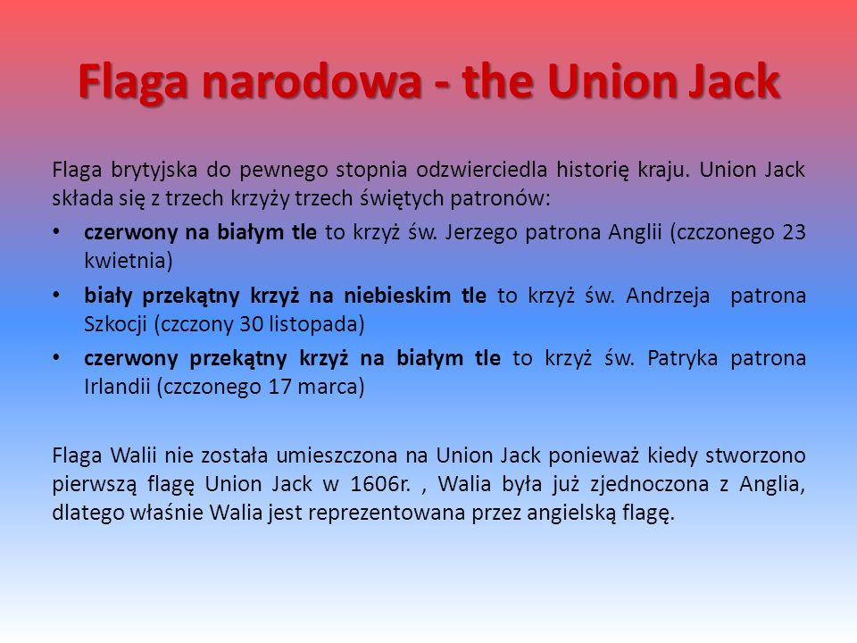 Flaga narodowa - the Union Jack