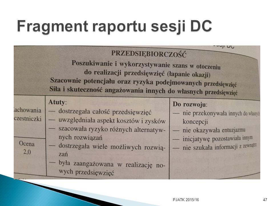 Fragment raportu sesji DC