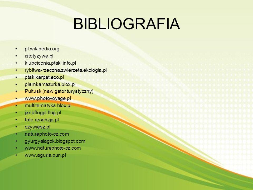 BIBLIOGRAFIA pl.wikipedia.org istotyzywe.pl klubciconia.ptaki.info.pl