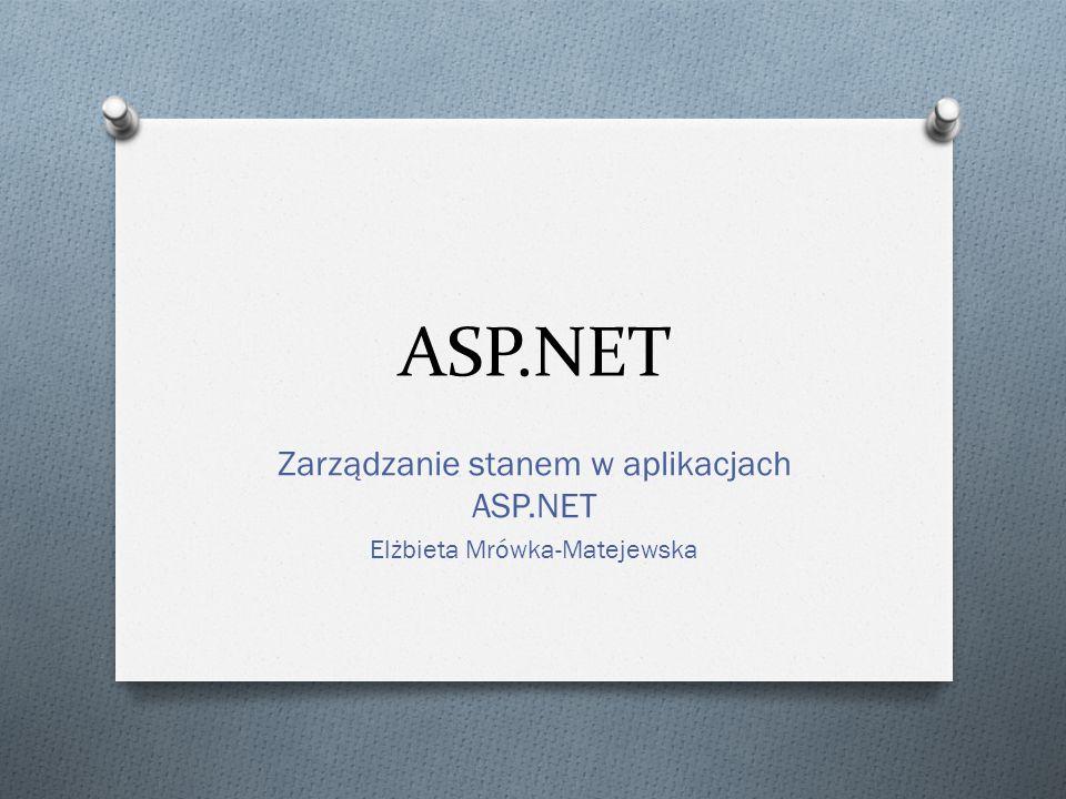 Zarządzanie stanem w aplikacjach ASP.NET Elżbieta Mrówka-Matejewska