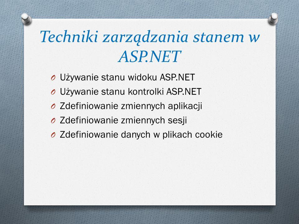 Techniki zarządzania stanem w ASP.NET