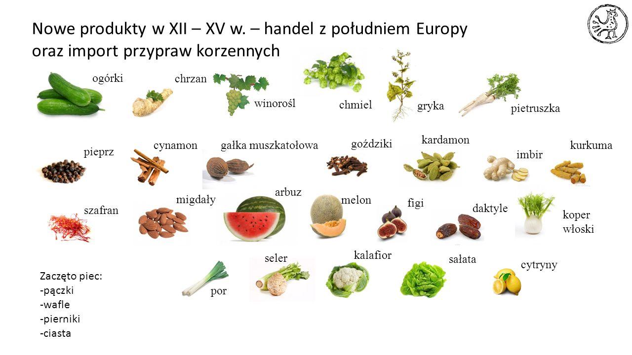 Nowe produkty w XII – XV w. – handel z południem Europy