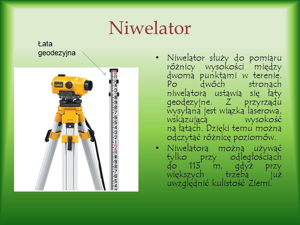 Niwelator Łata geodezyjna.