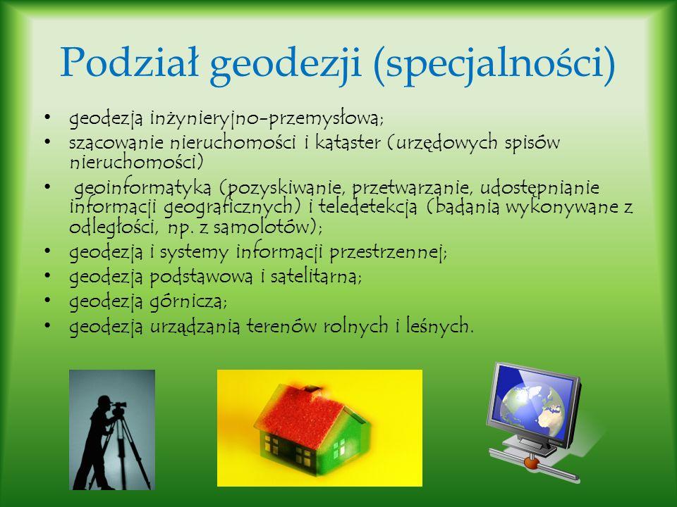 Podział geodezji (specjalności)
