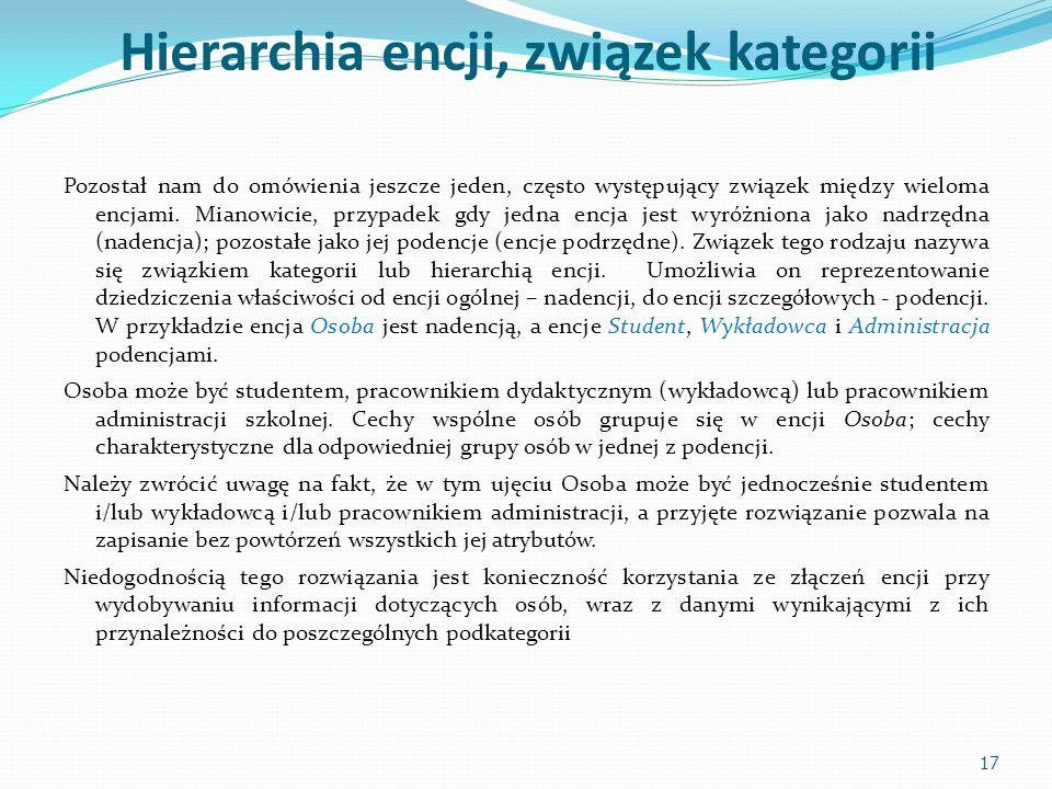 Hierarchia encji, związek kategorii