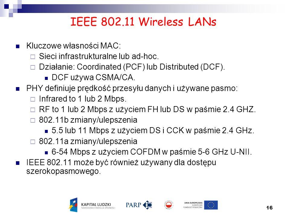 IEEE 802.11 Wireless LANs Kluczowe własności MAC: