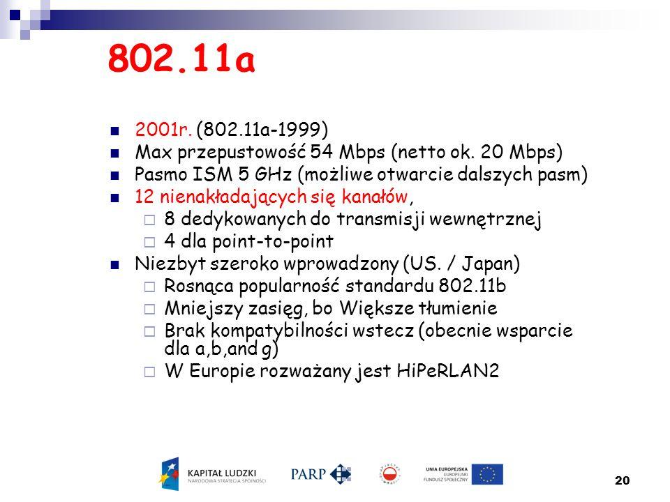 802.11a 2001r. (802.11a-1999) Max przepustowość 54 Mbps (netto ok. 20 Mbps) Pasmo ISM 5 GHz (możliwe otwarcie dalszych pasm)