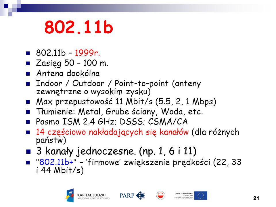 802.11b 3 kanały jednoczesne. (np. 1, 6 i 11) 802.11b – 1999r.