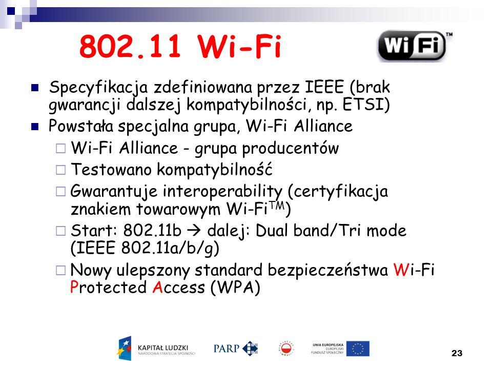 802.11 Wi-Fi Specyfikacja zdefiniowana przez IEEE (brak gwarancji dalszej kompatybilności, np. ETSI)