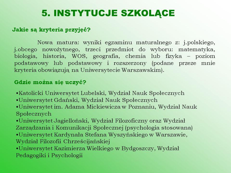 5. INSTYTUCJE SZKOLĄCE Jakie są kryteria przyjęć