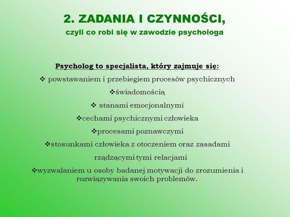 Psycholog to specjalista, który zajmuje się: