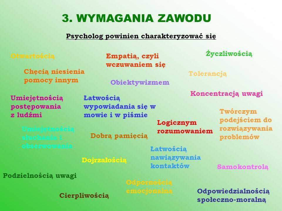 3. WYMAGANIA ZAWODU Psycholog powinien charakteryzować się