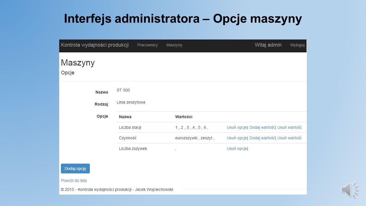 Interfejs administratora – Opcje maszyny