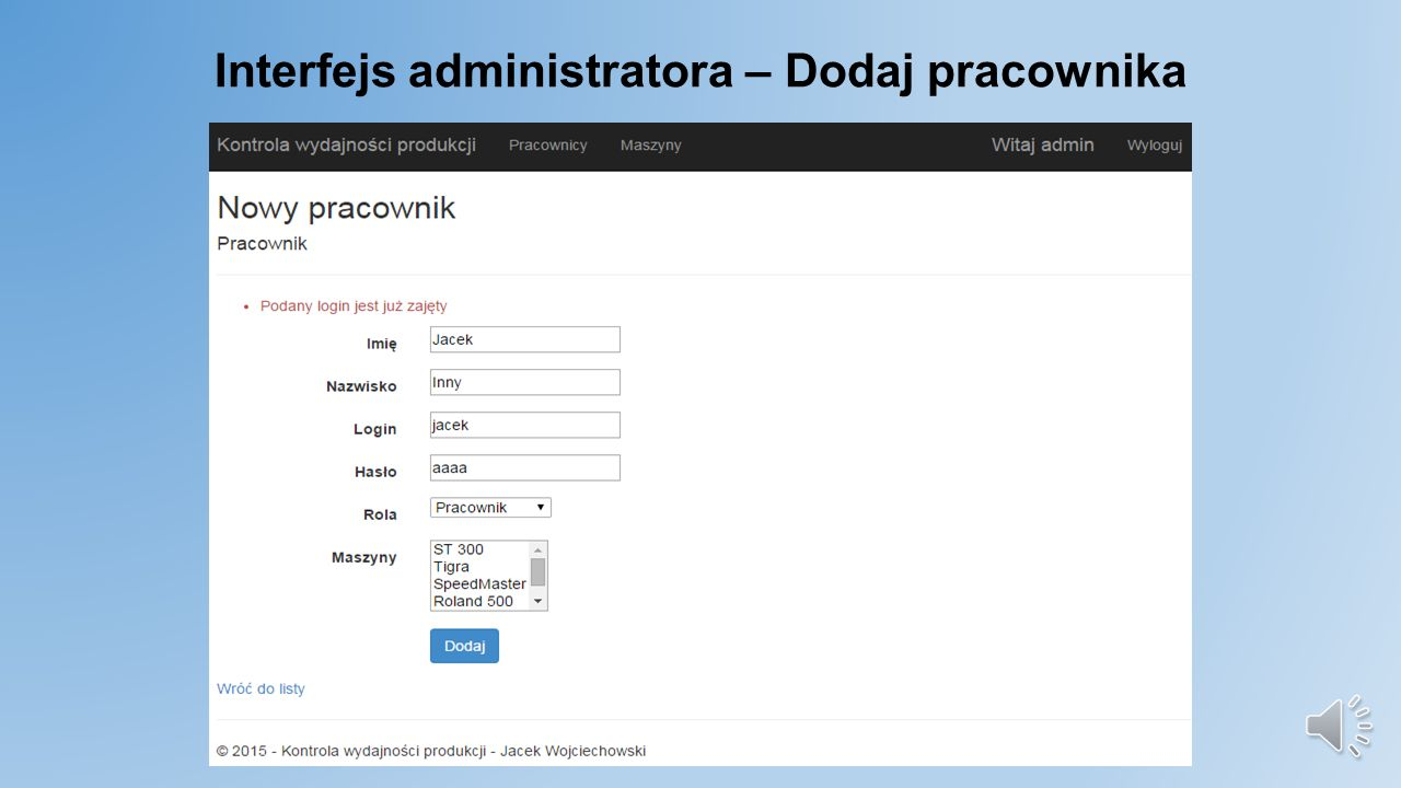 Interfejs administratora – Dodaj pracownika