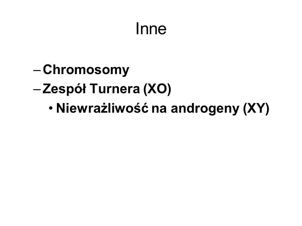 Inne Chromosomy Zespół Turnera (XO) Niewrażliwość na androgeny (XY)
