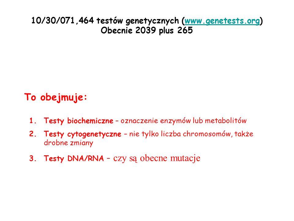 10/30/071,464 testów genetycznych (www.genetests.org)