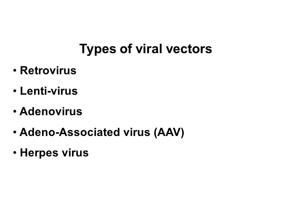 Types of viral vectors Retrovirus Lenti-virus Adenovirus