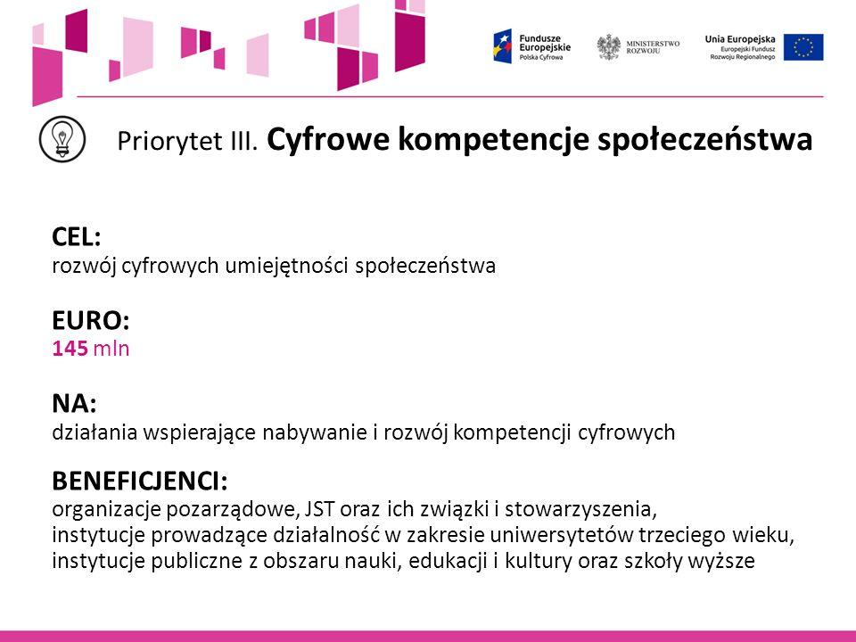 Priorytet III. Cyfrowe kompetencje społeczeństwa