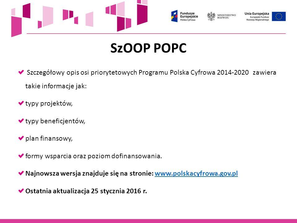 SzOOP POPC Szczegółowy opis osi priorytetowych Programu Polska Cyfrowa 2014-2020 zawiera takie informacje jak: