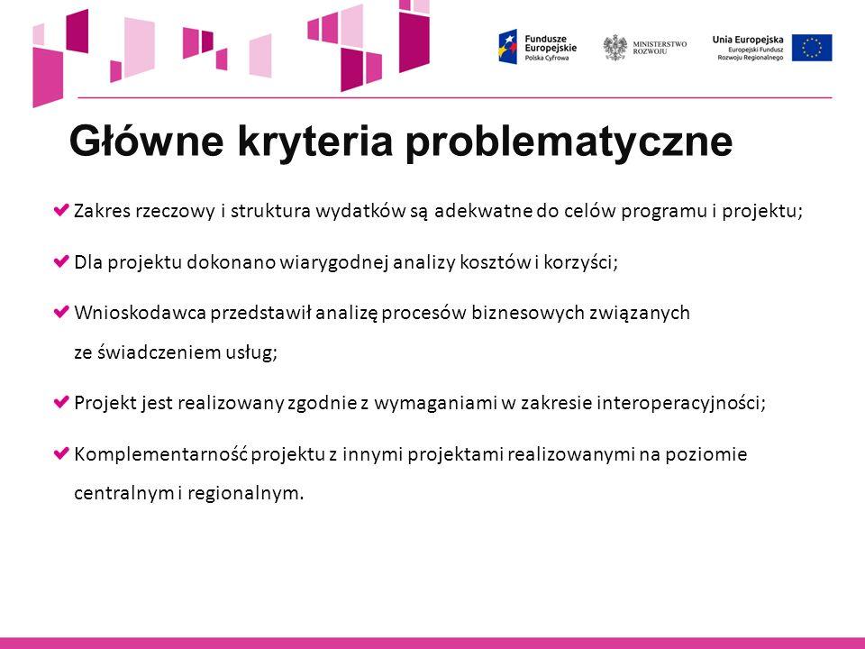 Główne kryteria problematyczne
