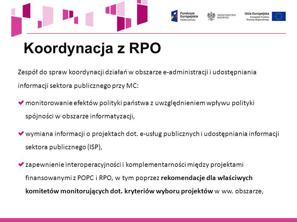 Koordynacja z RPO Zespół do spraw koordynacji działań w obszarze e-administracji i udostępniania informacji sektora publicznego przy MC:
