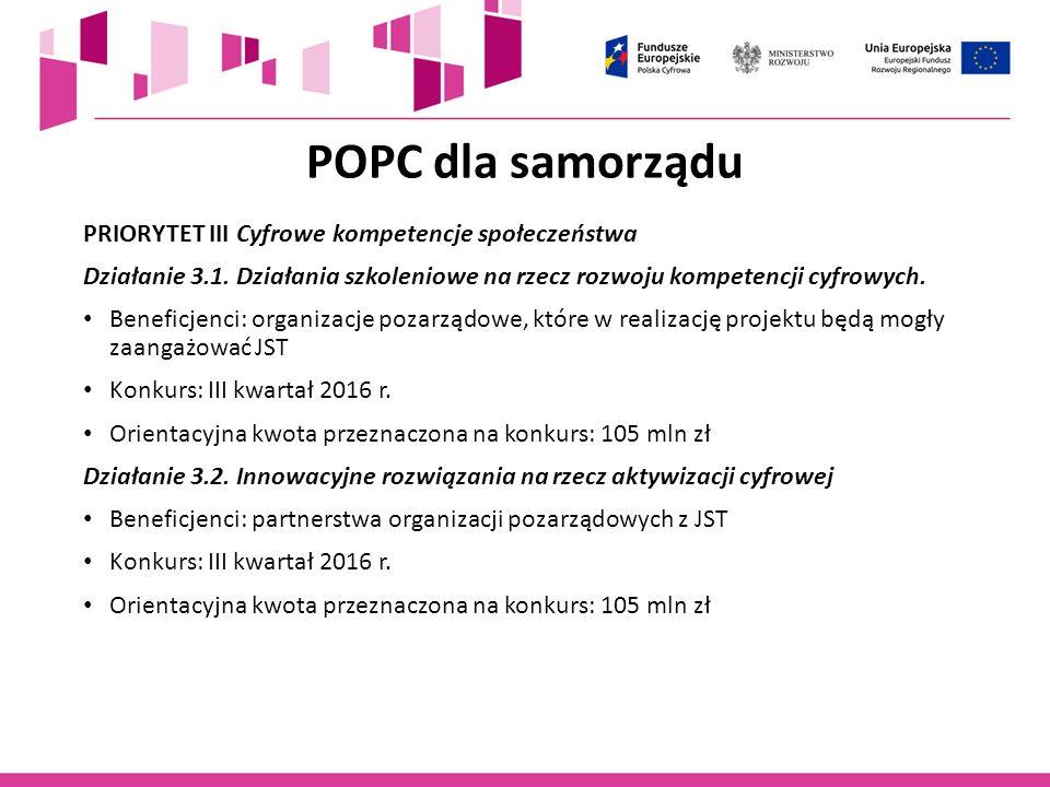POPC dla samorządu PRIORYTET III Cyfrowe kompetencje społeczeństwa
