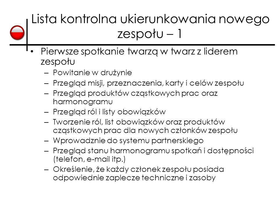 Lista kontrolna ukierunkowania nowego zespołu – 1