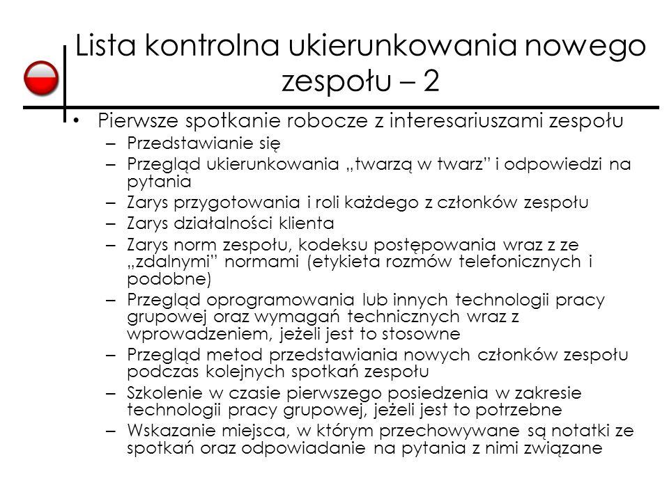 Lista kontrolna ukierunkowania nowego zespołu – 2